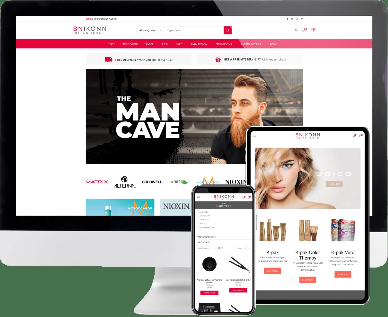 BNIKONN ecommerce website hair beauty