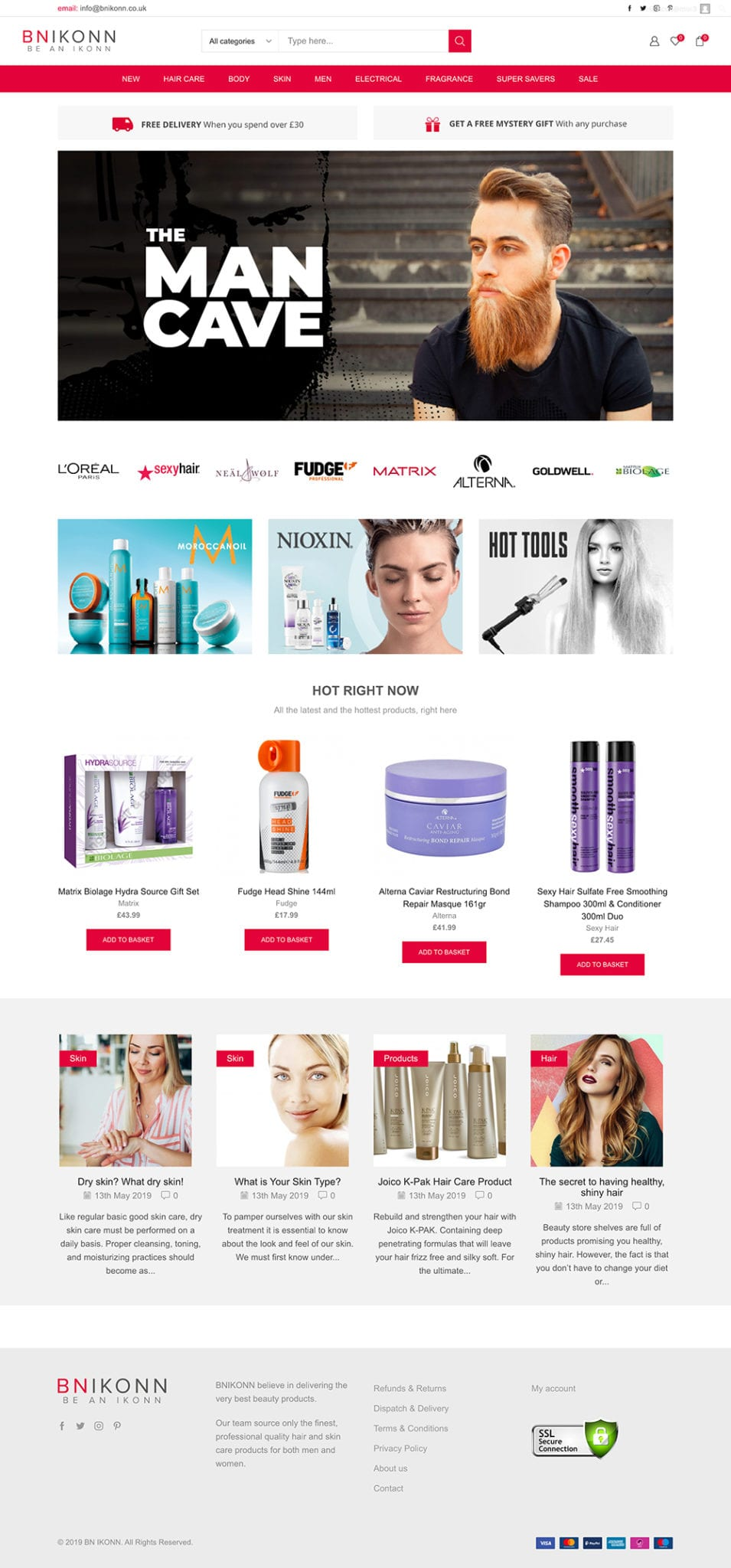 BNIKONN hair and beauty ecommerce website