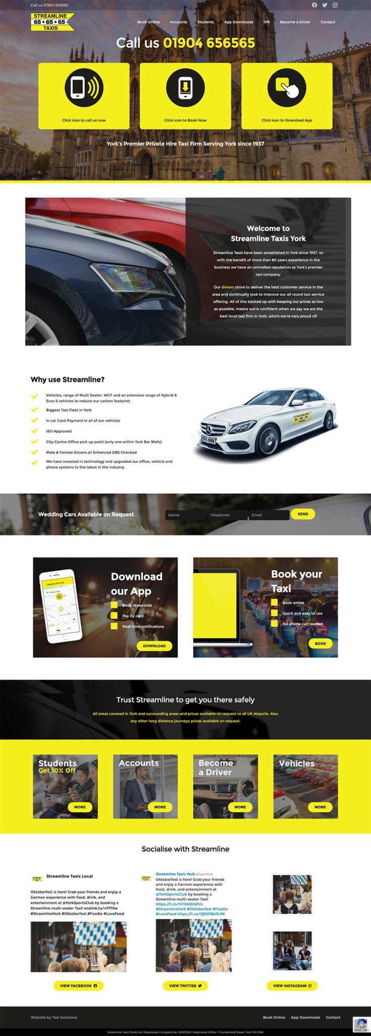 Streamline Taxis full homepage design